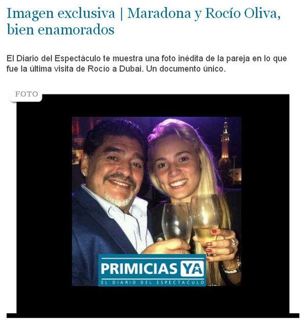Publican foto de maradona y su nueva novia for Primicia ya espectaculos