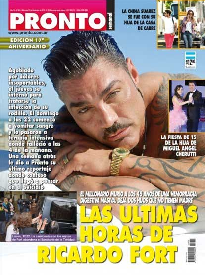 Ricardo fort fue tapa de las revistas del espect culo for Revistas del espectaculo