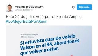 Corte Electoral dio entrada a denuncia por afiche de Miranda