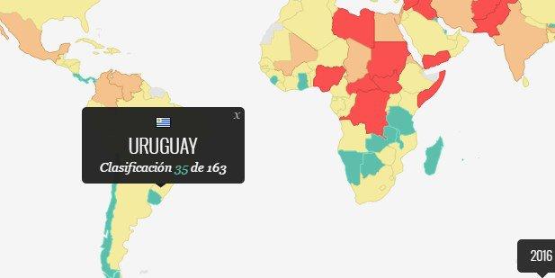 El índice mundial de la paz: el mapa de los países más pacíficos y más violentos del mundo