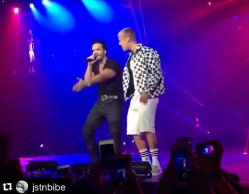 Justin Bieber masca chicle mientras canta 'Despacito' junto a Luis Fonsi