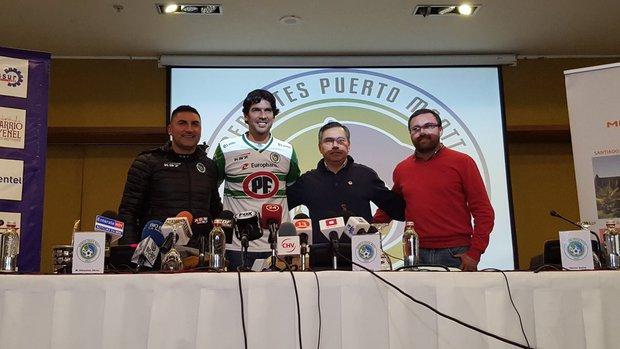 Sebastián Abreu durante la presentación oficial. Foto: Prensa Puerto Montt