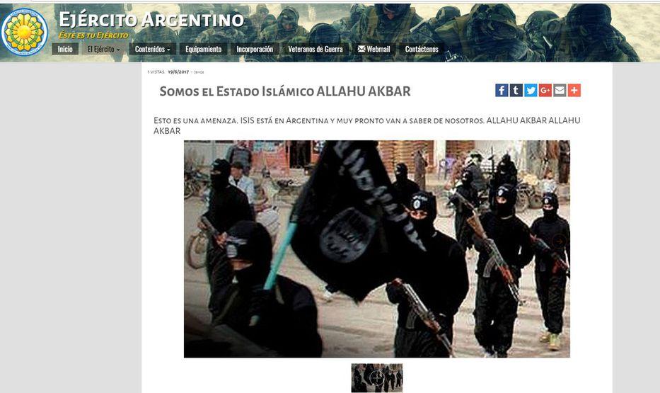 Hackearon la página del Ejército con consignas de ISIS