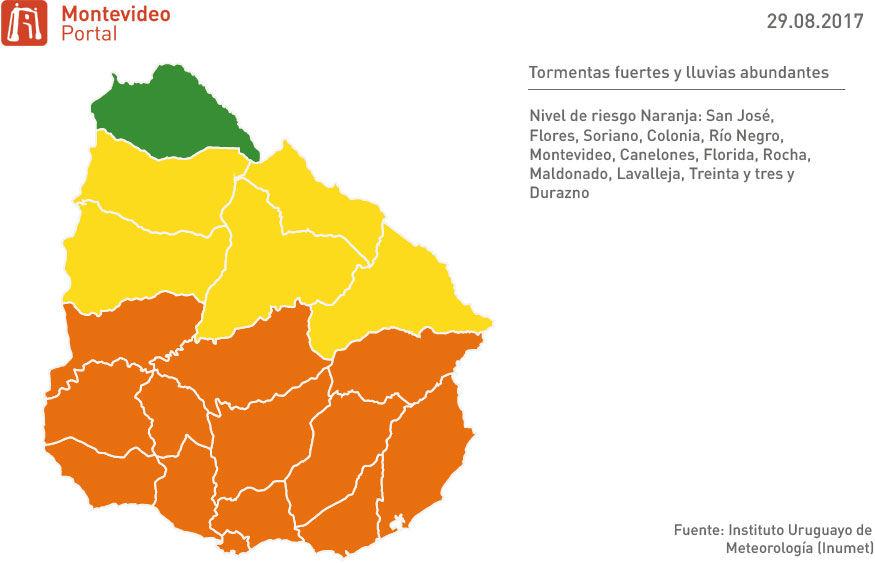 Rige alerta naranja para cinco departamentos del país