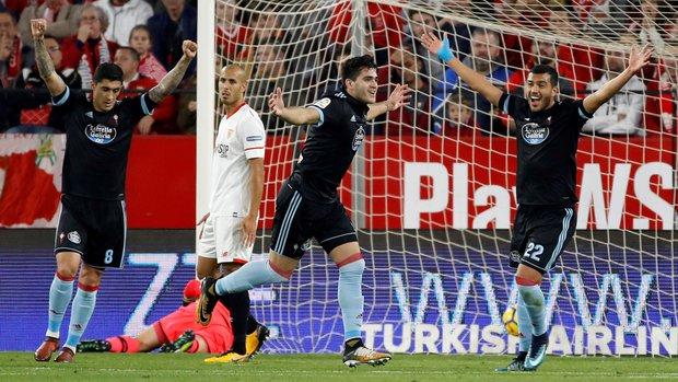 Maximiliano Gómez festeja su nuevo gol con el Celta. Foto: EFE l Julio Muñoz