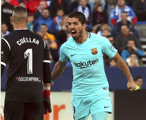 Luis Suárez festeja su segundo gol ante Leganés. Foto: EFE l Kiko Huesca