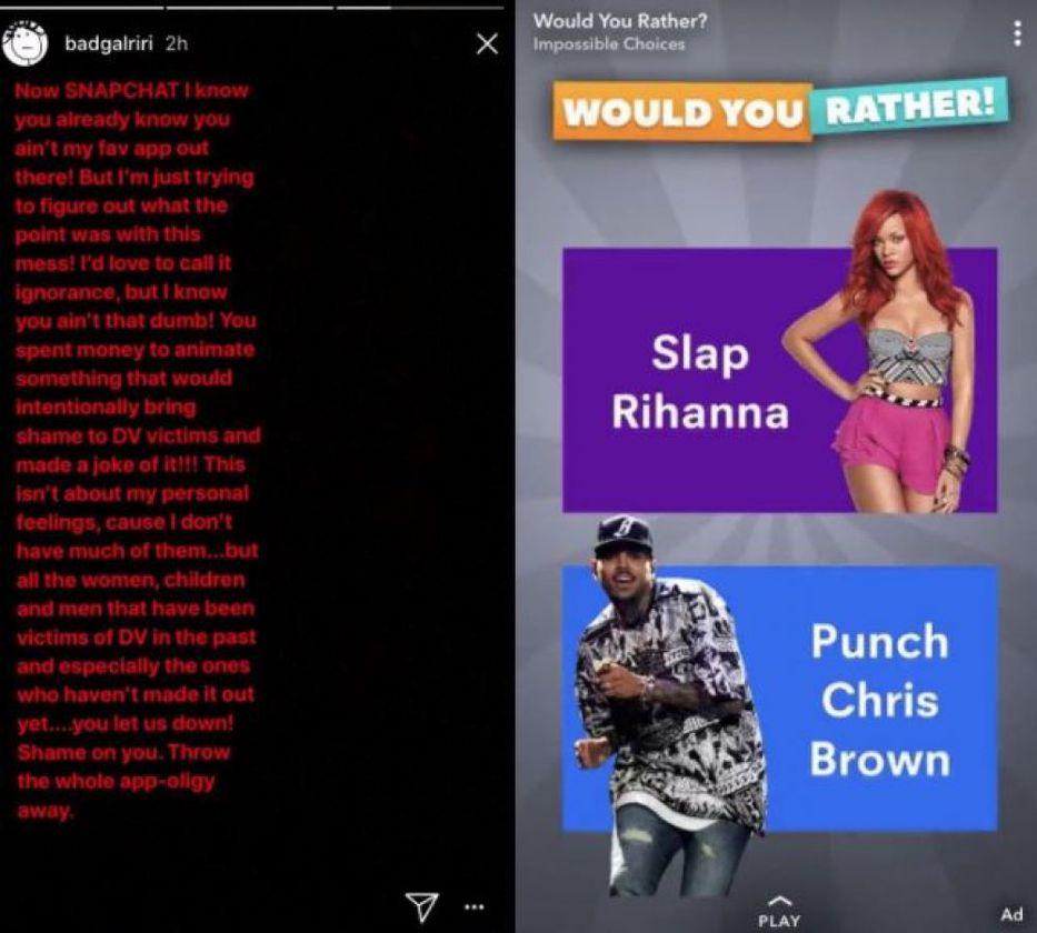 Resultado de imagen para Rihanna arremetió contra Snapchat por trivializar la violencia machista