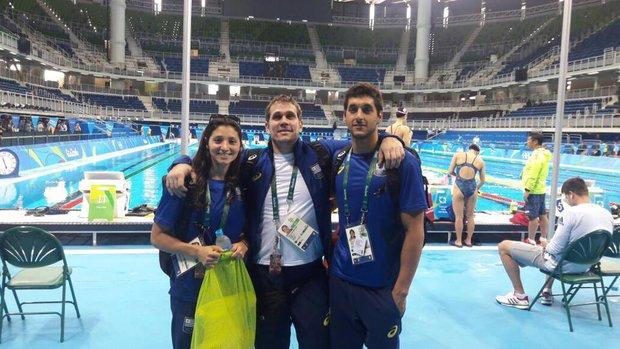 Inés Remersaro, Javier Golovchenko (entrenador) y Martín Melconian en Río de Janeiro 2016