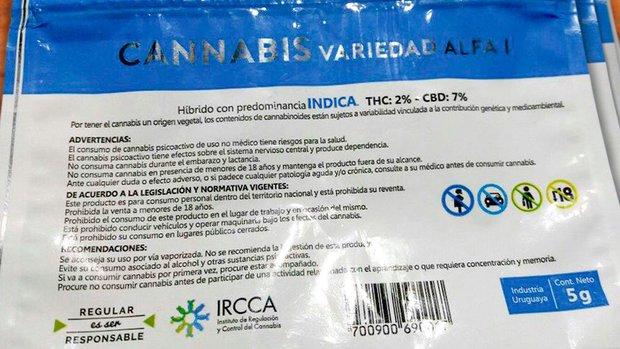 Envase de Cannabis vendido en farmacias