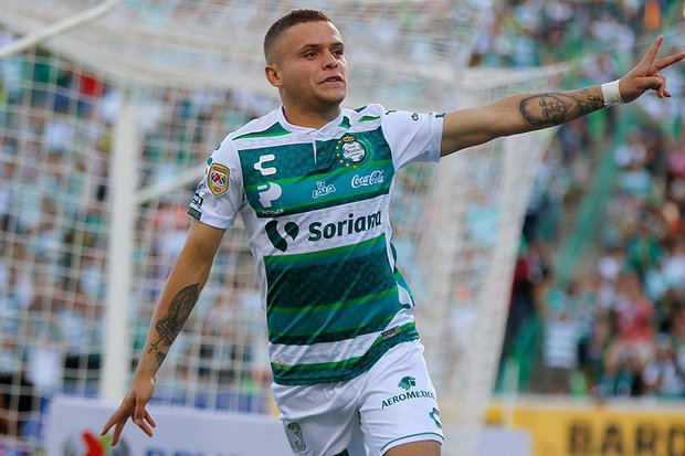 Rodríguez celebra su gol. Foto: clubsantos.mx