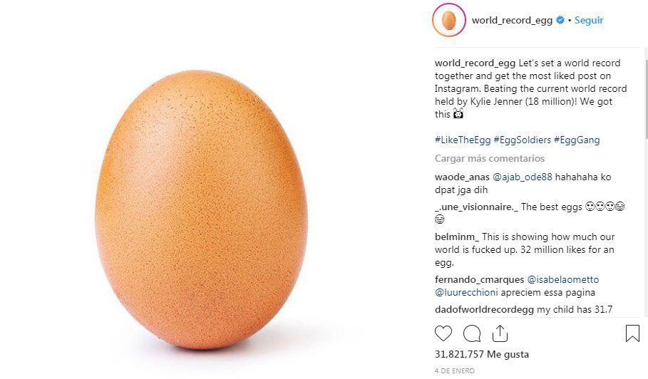 Un huevo desbanca a Kylie Jenner del reinado de Instagram