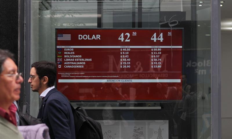 Baja el riesgo país, sube el dólar y cae la Bolsa