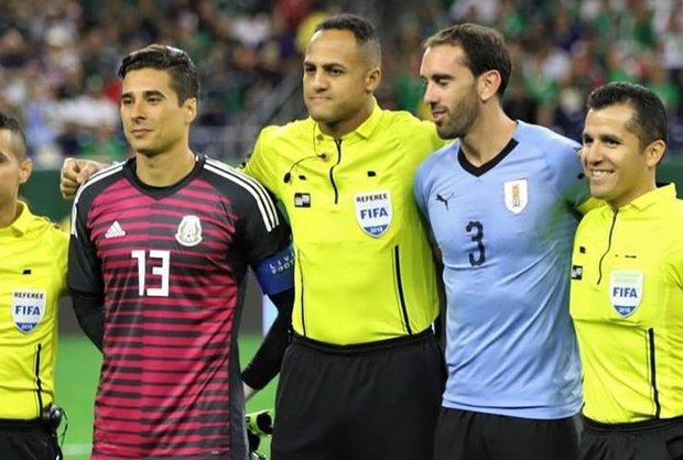 Ochoa, Elfath y Godín el 7/9/2018. Foto: Twitter l @Uruguay