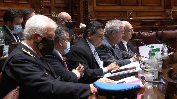 La delegación del Ministerio del Interior en el Parlamento. Foco Uy
